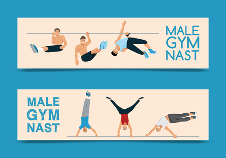 Male gymnast set of banners vector illustration. Competitive gymnastic. Horizontal bar. Parallel bars. Balance beam. Athlete man flyer. Exercising men in different poses. Boys are training in club.