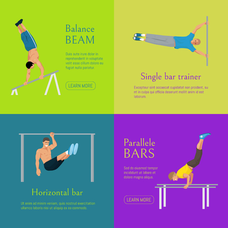 Male gymnast banner vector illustration. Competitive gymnastic. Horizontal bar. Parallel bars. Balance beam. Athlete man. Exercising men in different poses. Boys are training in sport club.