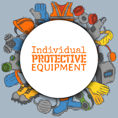 Illustration for Individual protective equipment for safe work vector illustration. Big sale on health and safety supplies round pattern. Best offer of gloves, helmet, glasses, headphones, protection gas mask. - Royalty Free Image