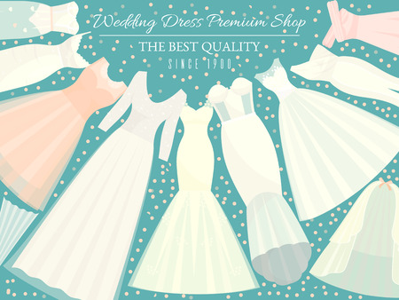Illustration pour Different styles of wedding dresses banner vector illustration. Choose your perfect cloth for your body type. Wedding invitation, bridal shower. Save the date. Fashion dress premium shop for bride. - image libre de droit