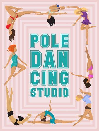 Woman pole dancing studio poster sexy female vector illustration. Professional sensuality human strong performance gymnastics lady. Dancer girls fitness pose exercising poledance school club.