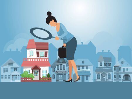 Vektor für Real estate investments vector illustration. Real estate agent inspecting a house with magnifier. Business woman with magnifying glass is looking for a house for investment. - Lizenzfreies Bild