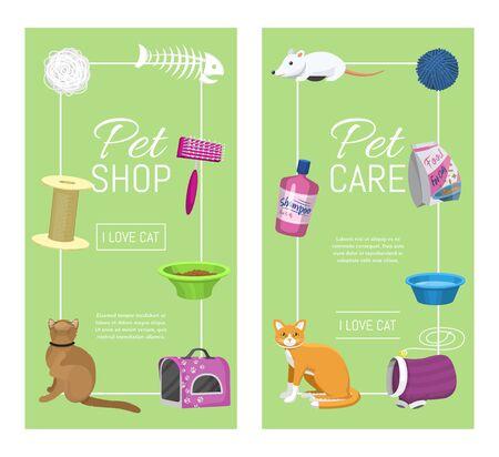 Pet care supplies illustration. Animal cares, cats feeding and pets walking. Vertical banners templates. Cat accessories food, toys and carrier, toilet and grooming equipment