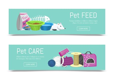 Pet care supplies web banner illustration. Animal cares and cats feeding information. Cat accessories food, toys and carrier, toilet and grooming equipment. Banners for web pages.