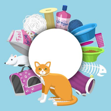Pet care supplies illustration. Animal cares, food and toys for cat, toilet, carrier and equipment for grooming pets located around place for text. Accessories for cats