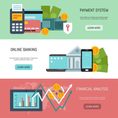 Illustration pour Online banking, payment system and financial analysis illustration. Web banners of on line payments, bank funds and business transactions template for landing pages and sites - image libre de droit