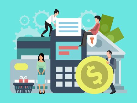 Illustration for Online banking, money transfer or shopping illustration. Concept of on line payments, and transfers, business transactions, bank funds - Royalty Free Image