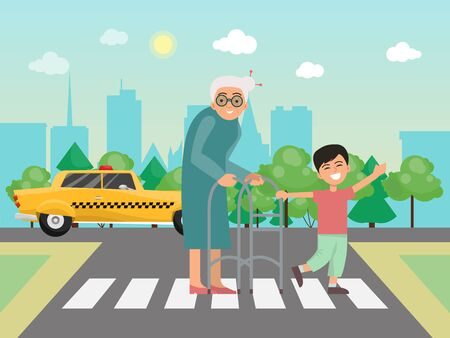 Illustration pour Boy helps to grandma across the road vector illustration. Little child and grandmother on the crosswalk. Boys helping to old people on the roads - image libre de droit