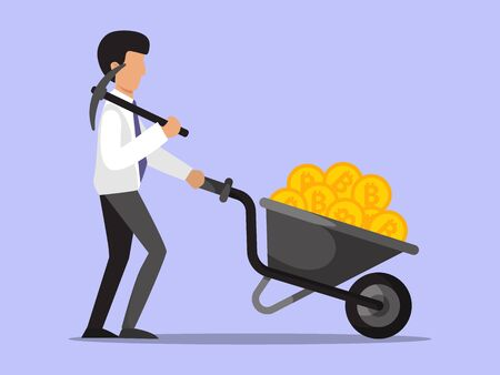 Illustration for Businessman with bitcoins wheelbarrow. Happy business man investor of crypto currency. - Royalty Free Image