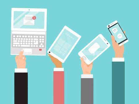 Illustration pour Hands holding different devices vector illustration. Business internet communications by laptop, mobile phone and tablet. - image libre de droit