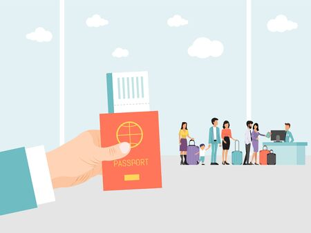 Hand holding passport and ticket on airport background. People with luggage stand in queue on flight. Man hand with passport and boarding journey pass. Man waiting for business flight inside airport