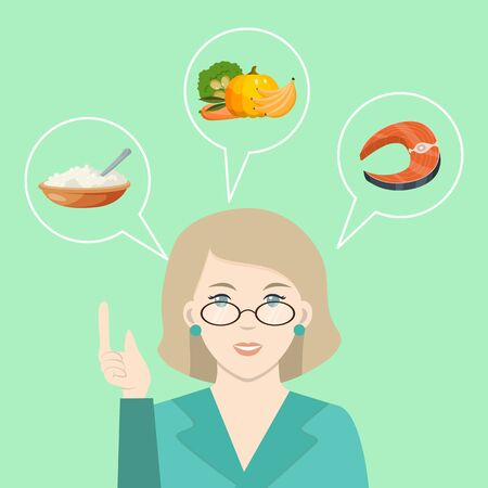 Illustration pour Doctor talk about healthy food. Nutritionist prescribing diet and healthy eating. Dietician offering fresh vegetable food vector illustration - image libre de droit