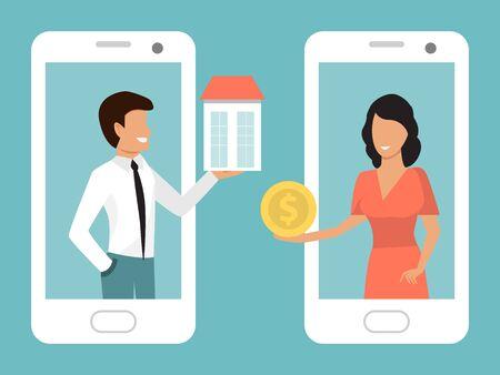 Illustration pour Hotels, apartments, hostels online booking smartphone application vector illustration - image libre de droit