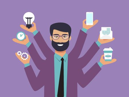 Illustration pour Business man surrounded by hands with office things. Multitasking and time management concept. Multiarmed businessman in suit with office tools - image libre de droit