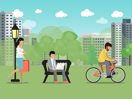 Illustration pour People in summer city park vector illustration. Characters recreation and work outdoor park. Woman walking, male riding cycle. Business man sit on bench, works on laptop. Summertime citizens activity - image libre de droit