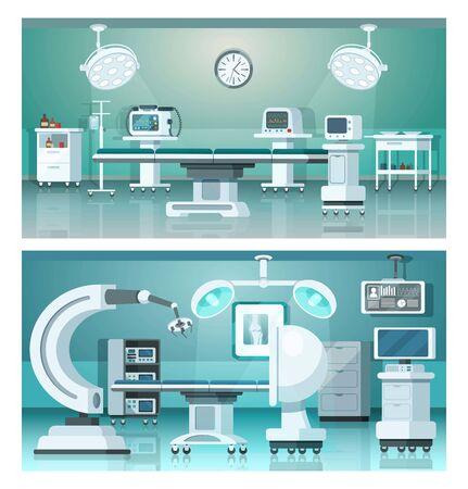 Illustration for Hybrid operating isometric medicine hospital operating rooms on medical vector illustration. - Royalty Free Image