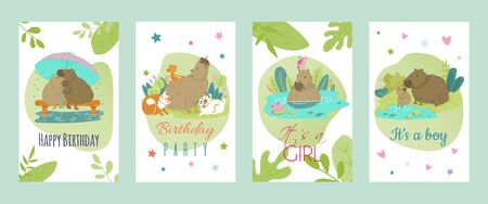 Illustration pour Capybara cartoon style, vector illustration of greeting cards happy birthday with cute animal. Can be used for magazine, poster or card - image libre de droit