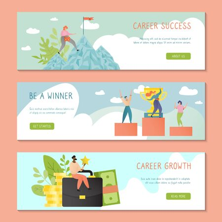 Illustration pour Career success banner template design with successful business people vector illustration in cartoon flat style. Growth and achievement concept. Businesswoman climbing mountain. Man, woman on podium. - image libre de droit