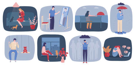 Vektor für People in loneliness vector illustration, cartoon flat sad unhappy teenage girl character, lonely man standing under rain alone in stress - Lizenzfreies Bild