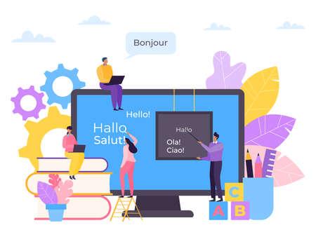 Illustration pour Language education online, course in computer vector illustration. Internet knowledge for student character, study technology. - image libre de droit