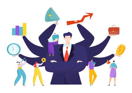 Illustration pour Virtual business assistant for people achievement concept, vector illustration. Advance analytics and balance. Man with many hands - image libre de droit