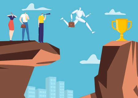 Illustration pour Artificial intelligence businessman character robot jumping chasm rock, office company algorithm win cup flat vector illustration. - image libre de droit