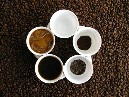 Different stages of coffee preparation