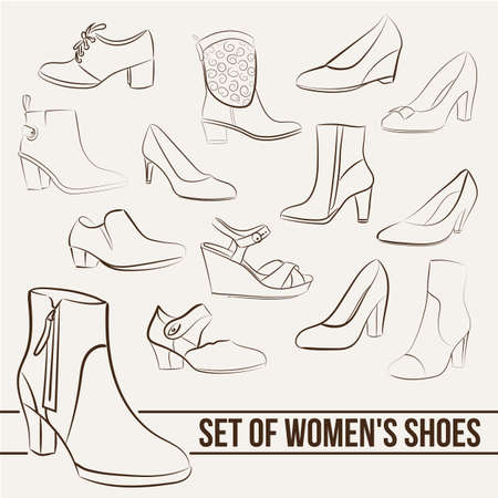 Set in the of women's shoes, painted lines in minimalist style