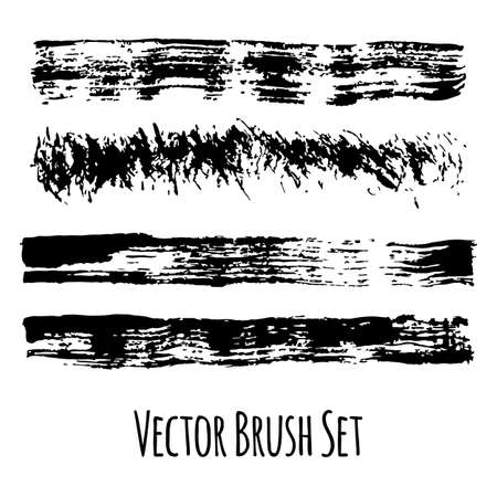 Set of four vector grunge contrasting brushes