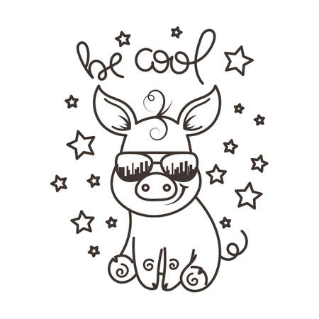 Coloring Pages. Mother Pig Looks At Her Little Cute Piglet Stock ... | 450x450
