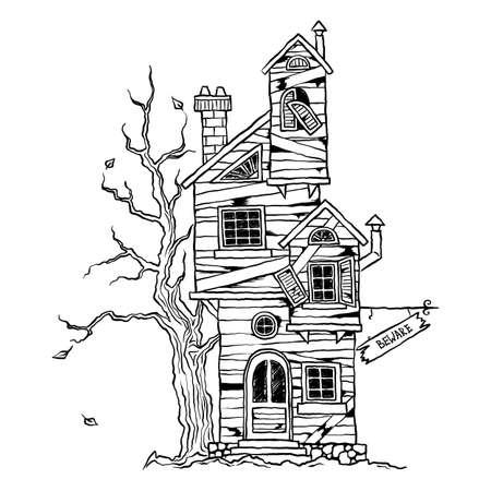 Illustration pour Halloween - scary old farmhouse for cards, design, prints. Hand drawn sketch vector illustration. - image libre de droit
