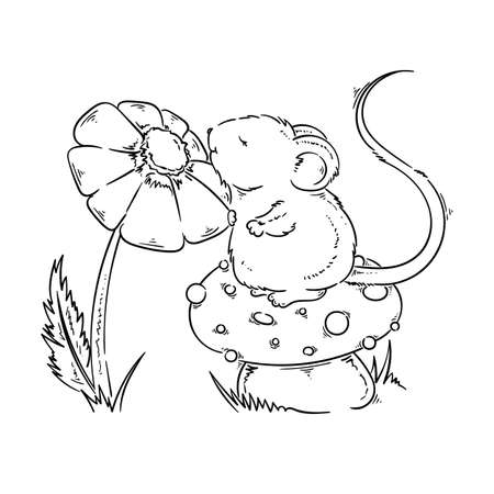 Hand Painted Cartoon Mouse On Mushroom With Flower Greetings Or Invitation Retro Card Poster Print Vector Cute Illustration For Coloring Pages Royalty Free Vector Graphics