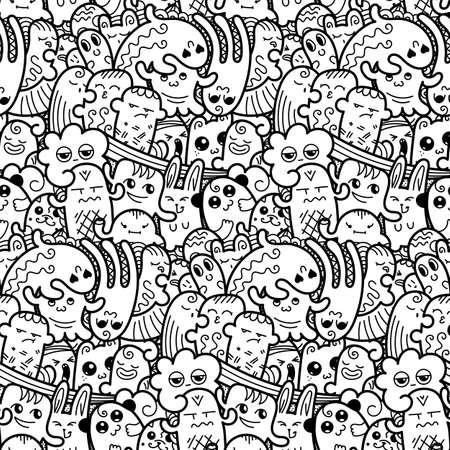 Illustration pour Funny doodle monsters seamless pattern for prints, designs and coloring books. Vector illustration - image libre de droit
