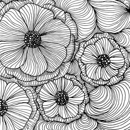 Illustration pour Vector doodle outline abstract ornamental flowers stripe background. Funky backdrop for coloring book - image libre de droit