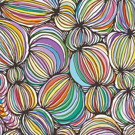 Illustration for Vector doodle outline abstract ornamental ball stripe background. Funky backdrop - Royalty Free Image