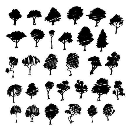 Illustration pour Trees sketch set, cartoon vintage illustration, ink draw engraved style, hand drawn isolates. Vector image - image libre de droit