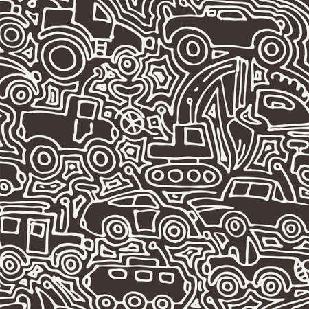 Vector monochrome auto pattern, doodle lines, black and white grunge background. Abstract kids surface, cartoon childish pattern