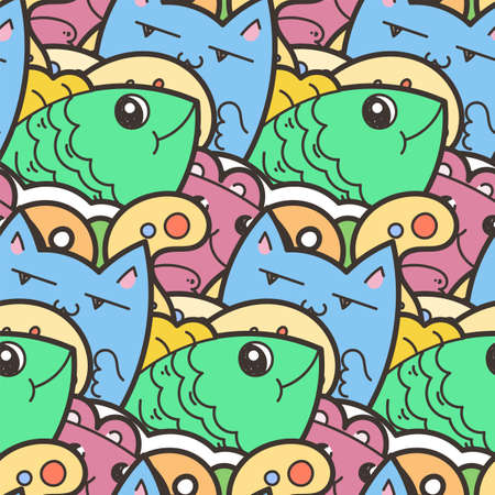 Illustration for Seamless vector pattern with cute cartoon monsters and beasts. Nice for packaging, wrapping paper, coloring pages, wallpaper, fabric, fashion, home decor, prints etc. Vector illustration - Royalty Free Image