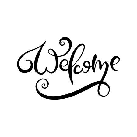Illustration pour Welcome. Grunge lettering isolated artwork. Typography stamp for t-shirt graphics, print, poster, banner, flyer, tags, postcard. Vector image - image libre de droit
