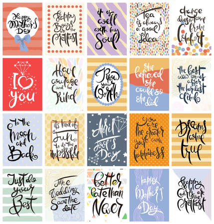 Foto für Hand drawn calligraphic card set. Vector illustration. Collection of flyers, brochures, templates. Design of scandinavian cards with lettering, patterns and ornaments. - Lizenzfreies Bild