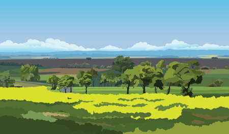 Illustration for Green fields and trees under the blue sky - Royalty Free Image