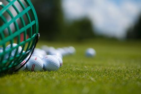 Golf ball basket grass equipment leisure activity