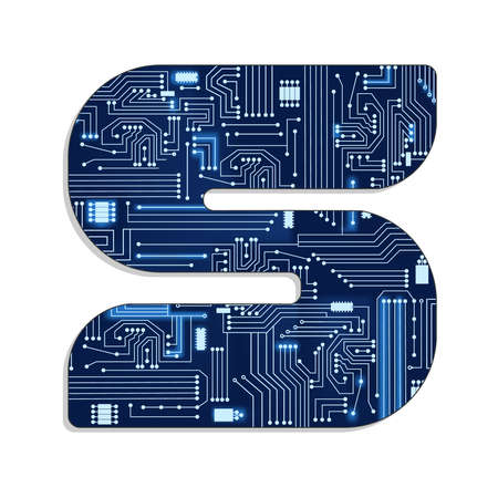 Letter  s  from technology s stylized alphabet with electronic circuit  Uppercase letter