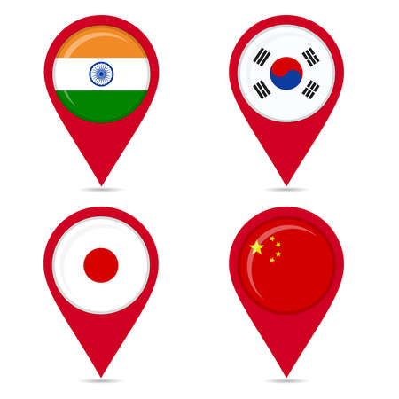 Map pin icons of national flags: india, south korea, japan, china. White background.