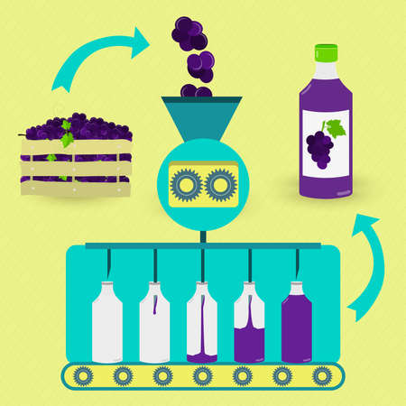 Grape juice series production. Fresh grapes being processed. Bottled grape juice.