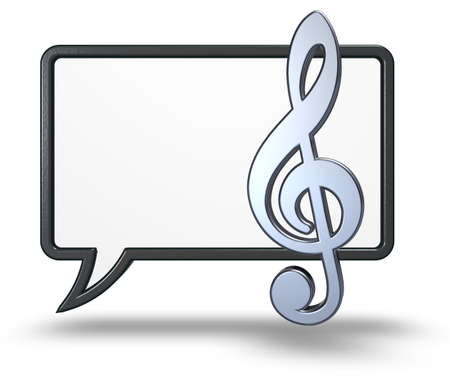 Photo for speech bubble and clef symbol on white background - 3d rendering - Royalty Free Image
