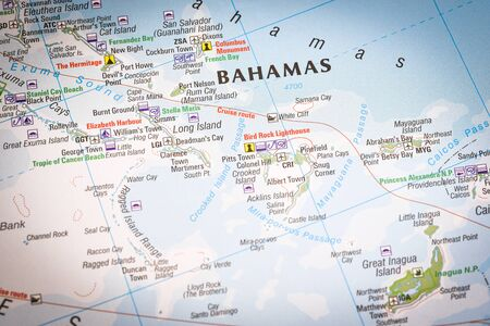 Photo pour Close up of a world map with Bahamas in focus, a country within the Lucayan Archipelago in the West Indies. - image libre de droit