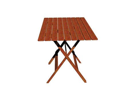 Photo pour wooden folding garden table on the beach - image libre de droit