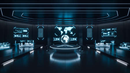 Foto de Command center interior, cybersecurity, room, blue - Imagen libre de derechos