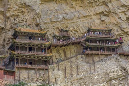 Hanging Temple in Henshang Mountain at China Asia